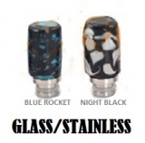 Glass & Stainless Hybrid 510 Drip Tip - BLUE ROCKET ( NIGHT BLACK v detaile )